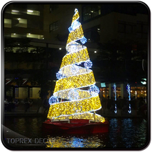 Giant outdoor commercial lighted metal spiral rope light christmas tree for plaza