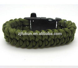 new army green paracord bracelet weaves style, whistle flint fire starter buckle paracord bracelet