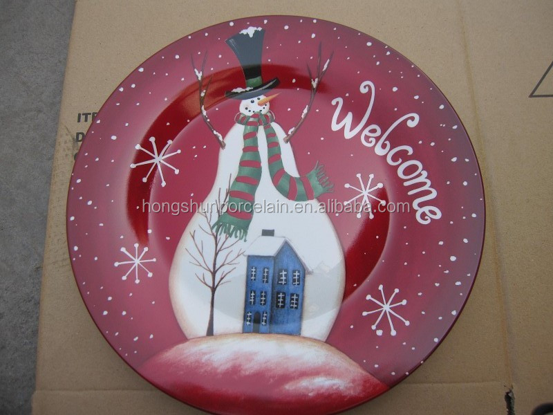 Christmas fine white porcelain flat plate with Santa Claus