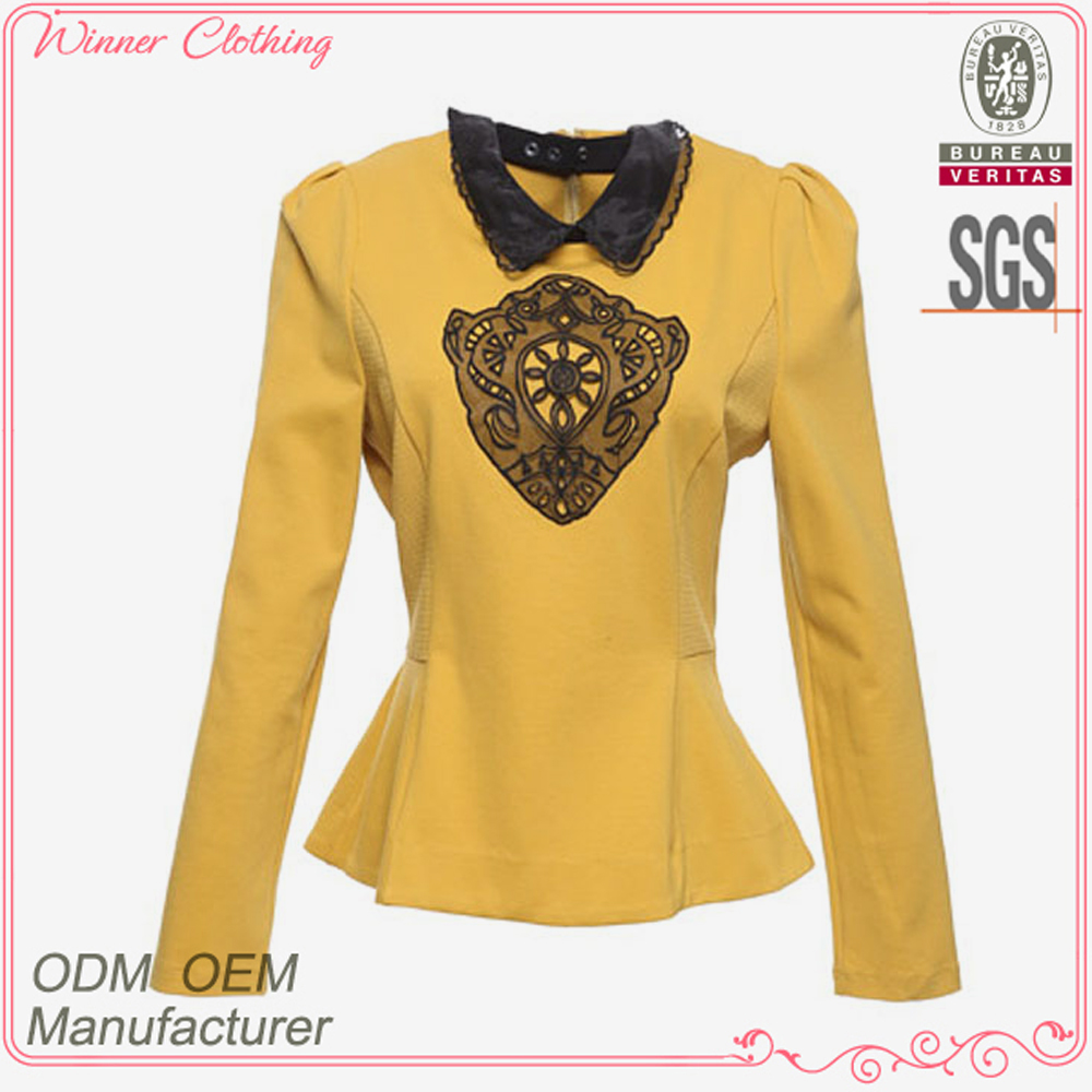 New designs fashion polyester and cotton ruffle bottom long sleeves lace collar and embroidery custom camo jacket fashion