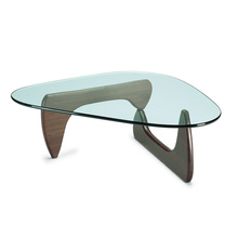 Designer furniture Isamu Glass top wood base coffee table