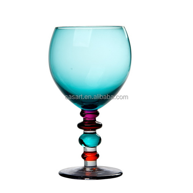 Casart wholesale colored bead stem round wine glass, colored long stem wine glass