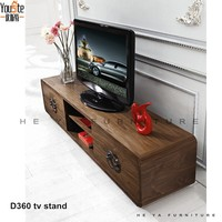 Light walnut color modern long MDF TV stand with drawers
