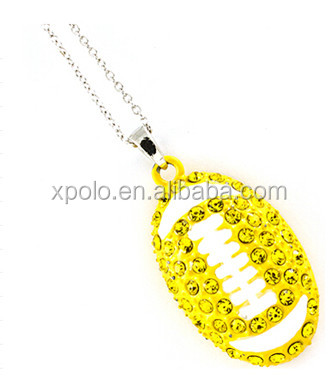 2017 silver plated neon yellow football pendant necklace