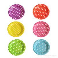 Colorful Dot Yellow Party Round Paper Plates Wedding Cake Disposable Plate 10pcs Barbecue Dish Tableware Party Supplies