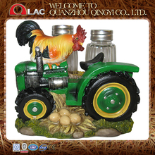 FDA approved customized resin animal rooster on tractor cruet set