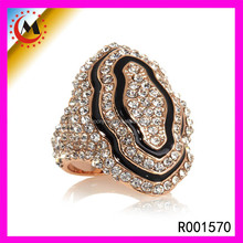 CZECH CRYSTAL DIAMOND RING FOR WOMNE WHOLESALE ITALIAN JEWELRY ZIRCON BLACK GOLD RINGS