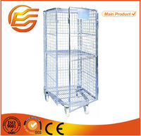 Folding supermarket metal wire mesh warehouse storage roll cage with wheels