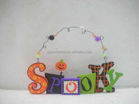 "HALLOWEEN PUMPKIN SIGN PLAQUE ""SPOOKY"" ADORABLE DECORATION"