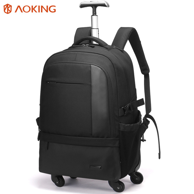 Aoking high capacity eminent rolling backpack bag wheeled trolley backpack with wheels