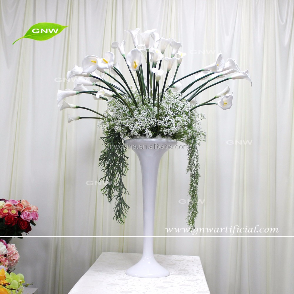 GNW CTR161110-001 New arrival Tall White calla Babysbreath vases wedding table centerpieces