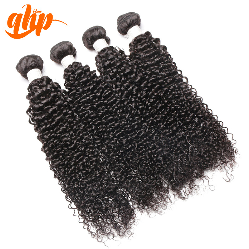 QHP hair 100% raw peruvian curly weave hair cheap human hair bundles unprocessed