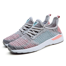 Beautiful flyknit fabric running shoes breathable couple sport shoes