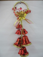 Christmas tree decorative plastic red bell and small baubles