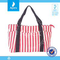 2014 New design red and white stripe shopping bags