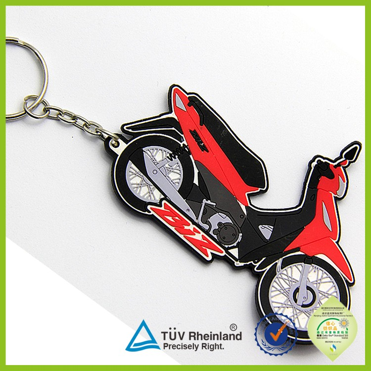 High quality Custom Shape rubber motorcycle keyrings