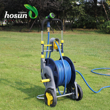Hot sale 100m 4 wheel stainless steel plastic high pressure water truck air garden hose reel