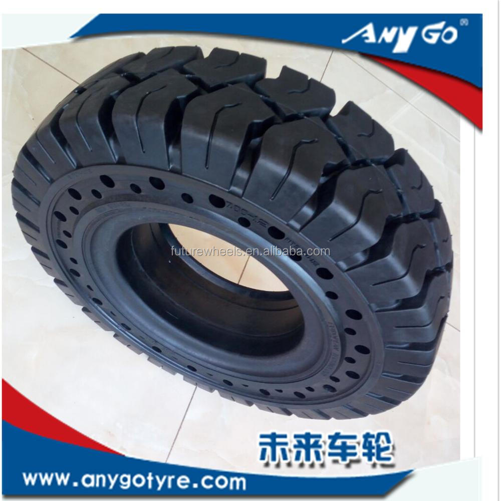 ANYGO brand 7.00-12 XZ18 pattern Click solid rubber tires with side hole for reach stackers