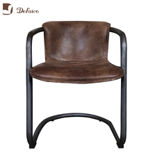 Restaurant/Office Tube Metal Base Luxury Comfortable Genuine Leather Chair Modern Industrial <strong>Furniture</strong>
