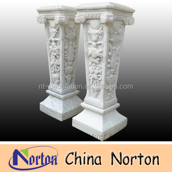 life size artificial carved flowers white marble column NTMF-C055