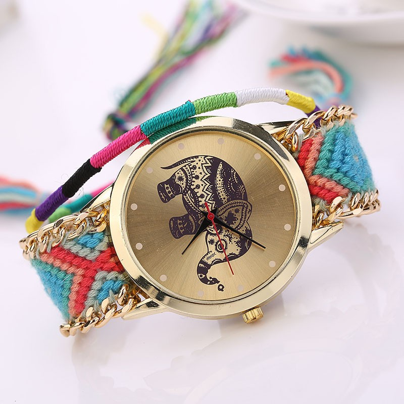 HOT Sell New Nice Handmade Braided Elephant Friendship Bracelet Watch GENEVA Watches Women Quartz Watches W110