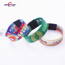 Cheap Custom made MF Ultralight C NFC fabric woven bracelet RFID stretch wristbands