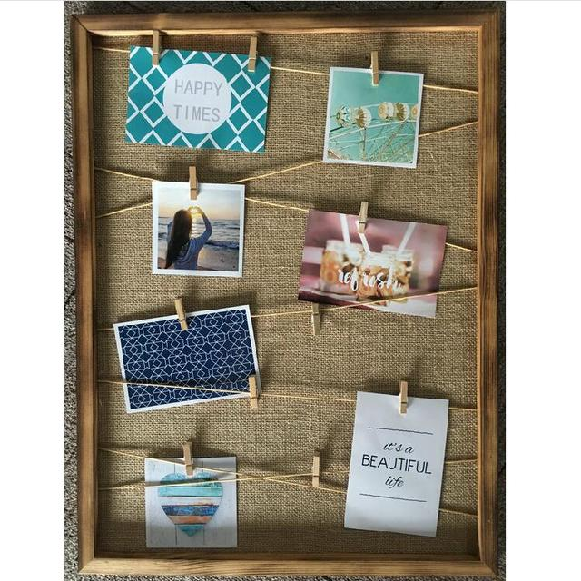 Hanging Gallery on Line Paper Photo Frames Wooden Clip Hemp Rope