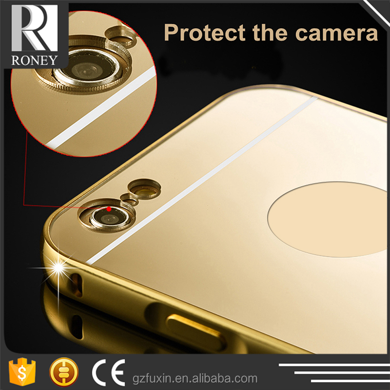 New 4 Colors metal Case Mirror Bling Fashion hybrid Rose Gold plated Mirror Phone Cases Cover For iphone5