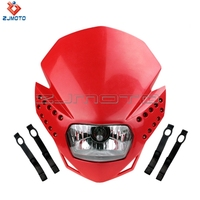 Red Dirt Bike Motorcycle Universal Vision Headlight Street Fighter Headlamp H4 Headlight YZF XR KLX DR ZJMOTO