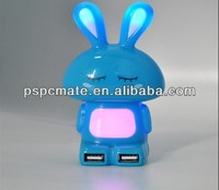 cartoon rabbit usb hub 4 ports-with seven colorful night light for kids