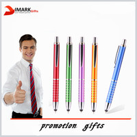 metal colored promotion touch pen with ball pen