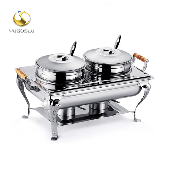 Electric Chafing Dish 8 Quart Buffet Set Full Size Stainless Steel With Folding Frame For Kitchen Part
