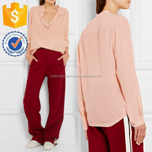 Long Sleeve Women Blush Silk Crepe De chine Blouse Manufacture Women Wholesale Fashion Women Apparel(TS0084T)