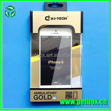 Phone accessories paper packing box with clear plastic cover with hanger