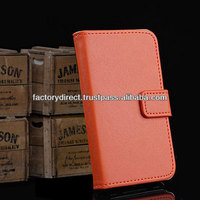 New Leather Flip Case Cover Pouch Bumper Wallet for Samsung Galaxy S5 S 5 V i9600 Orange Best Quality