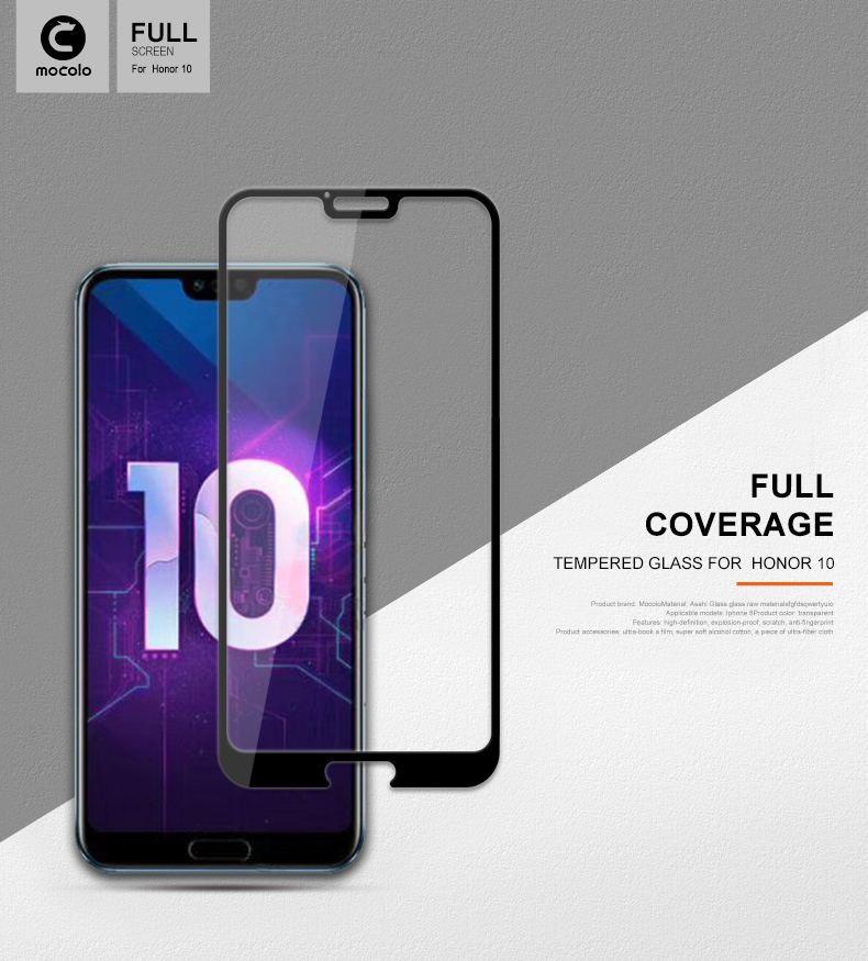 Mocolo custom 5d Full glue 2.5D curved screen protector For Honor 10