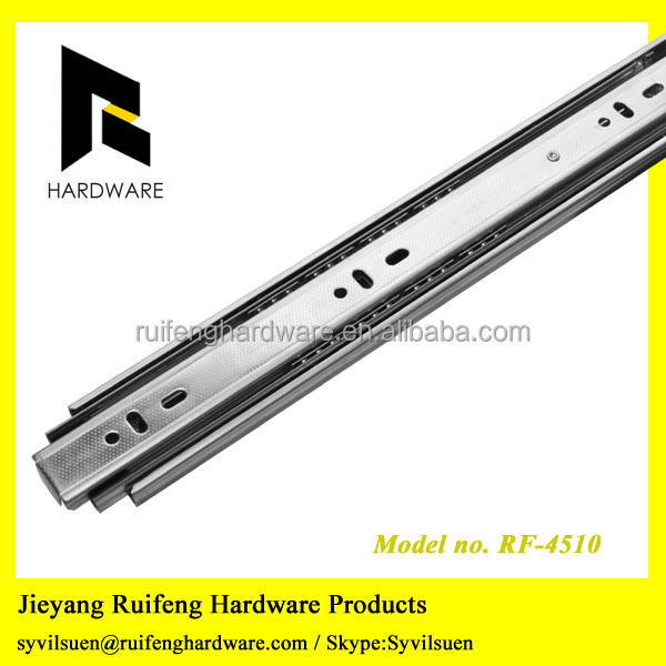 Side mounted drawer channel ball bearing telescopic slide