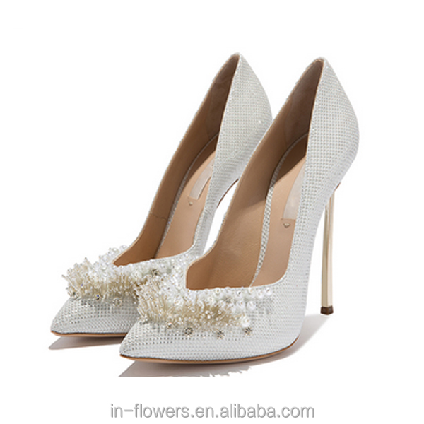 OEM ODM white wedding shoes high heels crystal women shoes 2017