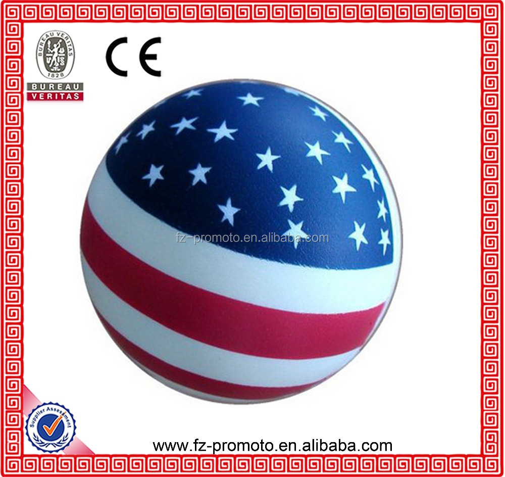 2016 new design PU anti stress ball PU reliever round ball in USA national flag design for sale