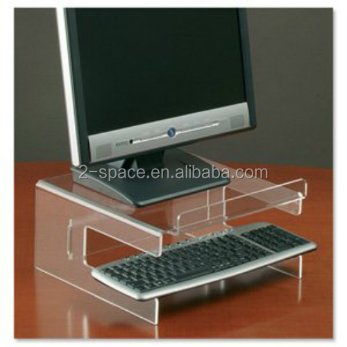 Compucessory plexiglass Monitor Stand for 19in with Keyboard Storage Acrylic Clear