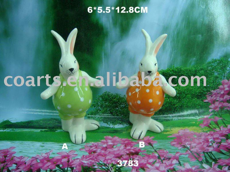 colourful porcelain rabbit craft