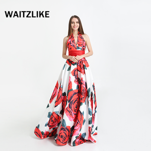 Factory manufactures mature female long satin gown ,floral satin halter neckline long prom dresses