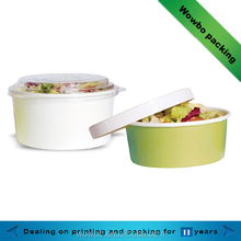wholesale cheap unique 100% compostable paper salad bowl with lid