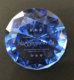 60mm blue customized logo laser etched crystal diamond paperweight