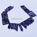 Purple Agate Top Drilled Graduated Long Slices Jewelry Wholesale