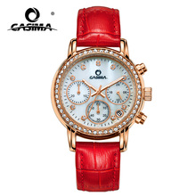 Red genuine leather luxury diamond bezel bracelet ladies watch chinese suppliers