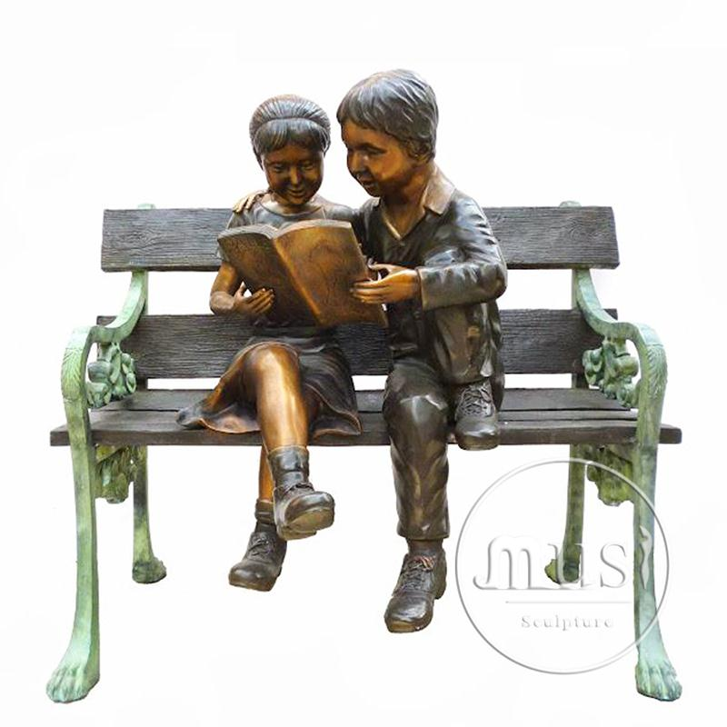 quanlity products bronze lost wax casting bronze boy reading book statue