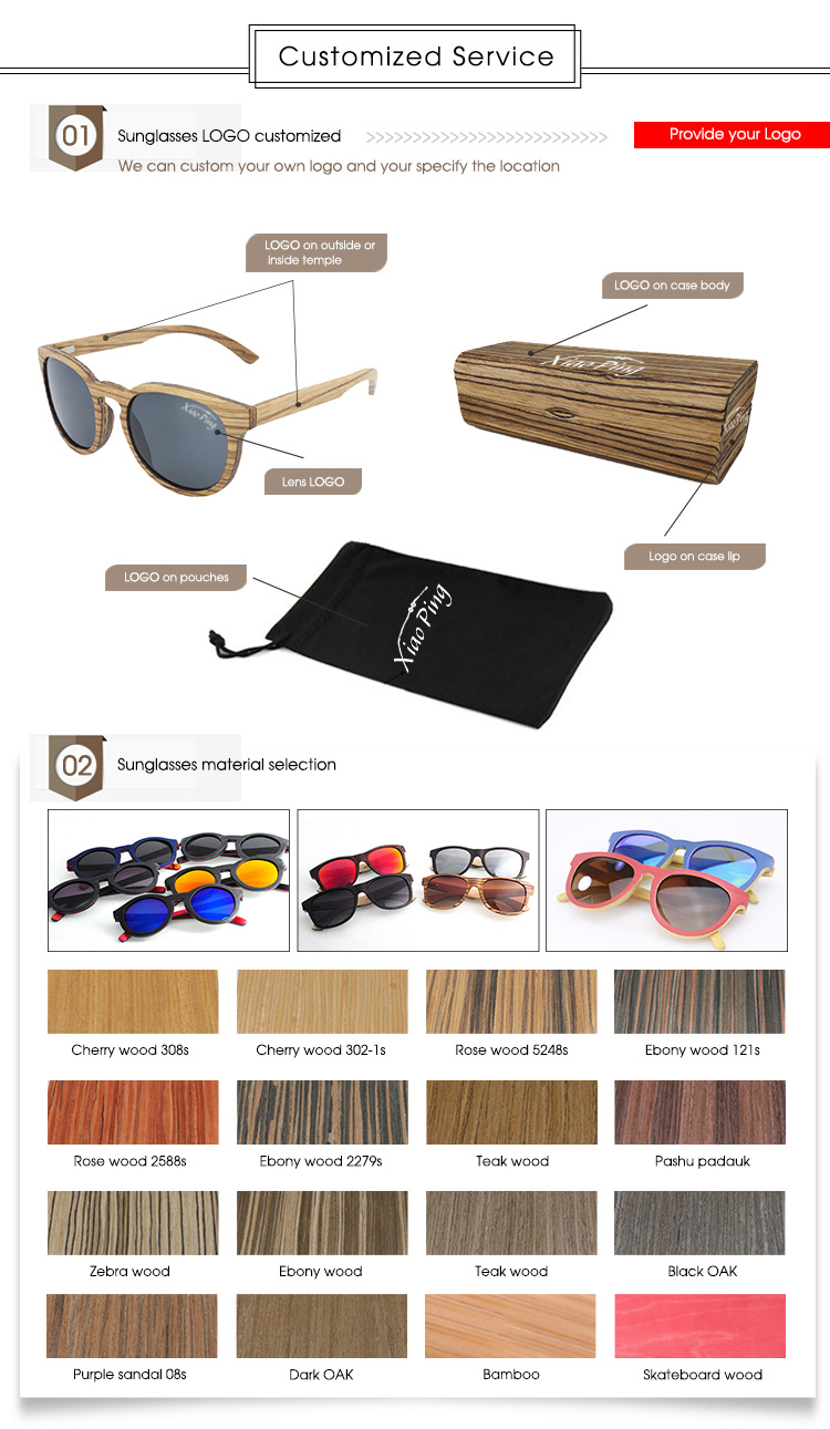 XIAO PING black walnut wooden sunglasses with grey polarized lens TAC 1.1mm