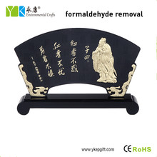 Environmental friendly fan shaped Chinese traditional wood carving handicraft for home decor