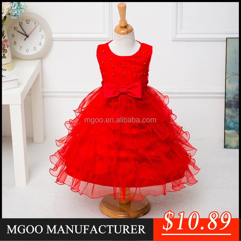 MGOO Hot Selling Factory OEM Kids Party Clothes Baby Princess Dress Pink Birthday Girl Dress Purple/White/Red 2015